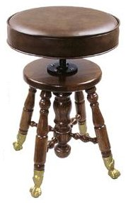 Padded Top Oak Piano Stool - Clawfoot