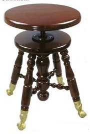 Wood Top Oak Piano Stool - Clawfoot